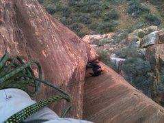 Rock Climbing Photo: Jay Brown following on Equinox, 5.10+, Zion, UT