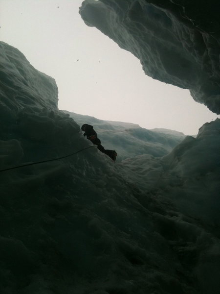 Ice climbing out of a crevasse on Mt. Baker, WA