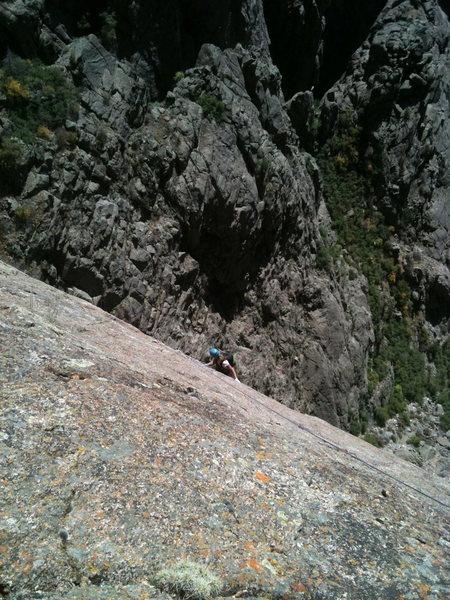 Brandi Horn following on Checkerboard Wall, 5.10+, Black Canyon, CO