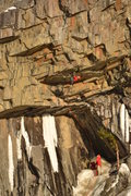 """Rock Climbing Photo: Pulling the roof on """"Road To Nowhere"""". M..."""
