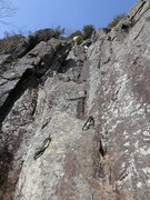 Rock Climbing Photo: The start of Cysty Ugler in dryish conditions.