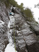 Rock Climbing Photo: Climber approaching the roof on Seldom Scene. Cond...