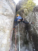 Rock Climbing Photo: The start (and crux) chimney of Material Girl.