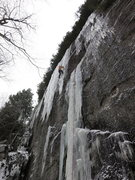 Rock Climbing Photo: Climber on the upper curtain of Ice Storm. This ph...