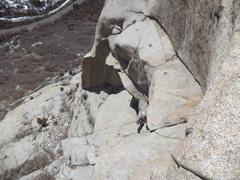 Rock Climbing Photo: Annie pulling 2nd bulge.