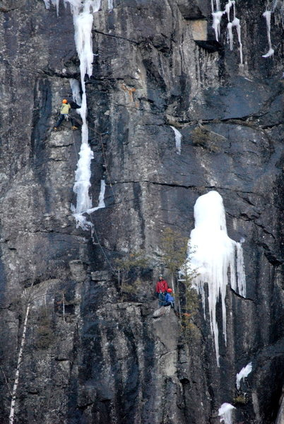 Climbers on P2 of Spike. In these conditions, there's plenty of rock gear.
