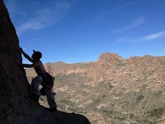 Rock Climbing Photo: Superstition Wilderness: Barks Canyon: A Long Lead