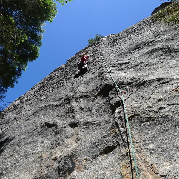 Mike Arechiga on a super fun 5.9 on the lower part of Hawk Dome.