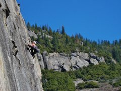 Me in a weird position on the very fun technical route Knuckleheads. <br /> <br />Photo taken by Maria Elena Quitoriano