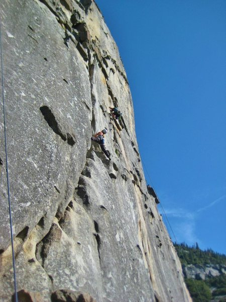 Me on Nurdle with another climber in the background on Knobjob.<br> <br> Photo by Maria Elena Quitoriano.