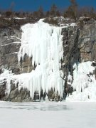 Rock Climbing Photo: Lake Champlain Monster, WI5, in a good year. The r...