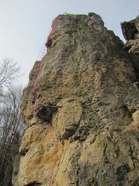 Rock Climbing Photo: The pink route is Perserpfeiler.