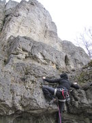 Rock Climbing Photo: Fanny starting up the first block to Südwand.
