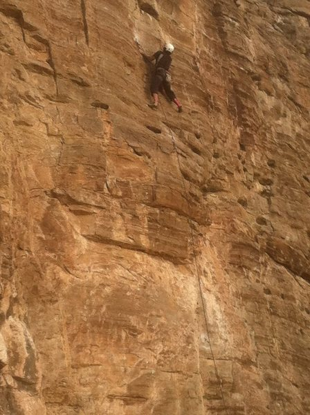 Thin face up high on<br> Wishbone Right (5.10-)