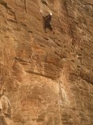 Rock Climbing Photo: Thin face up high on Wishbone Right (5.10-)