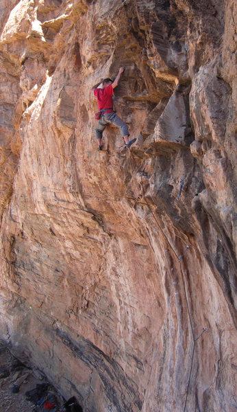 Rock Climbing Photo: Crux bulge on FA Fa-Lufa (5.11)