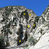 Overvew photo, Frustration Creek<br> <br> A. Lower Tier<br> B. Middle Tier <br> C. Upper Tier<br> D. The Headwall<br> E. Overhead Wall