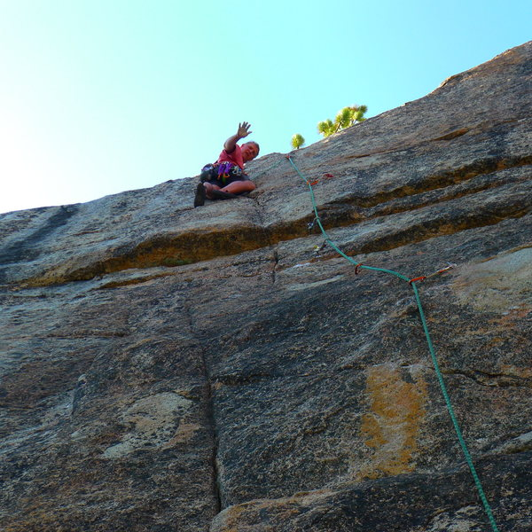Mike Arechiga on a fun 5.10b route on Tiger Cage Wall.