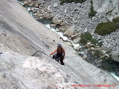 Rock Climbing Photo: Amy Wilkins on the second pitch of, A Little Nukey...