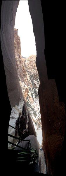 Rock Climbing Photo: panorama view, halfway up chimney