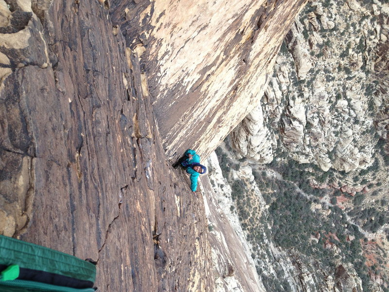 one of the upper 5.7 pitches, so steep for so long...