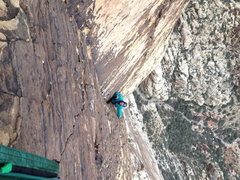 Rock Climbing Photo: one of the upper 5.7 pitches, so steep for so long...
