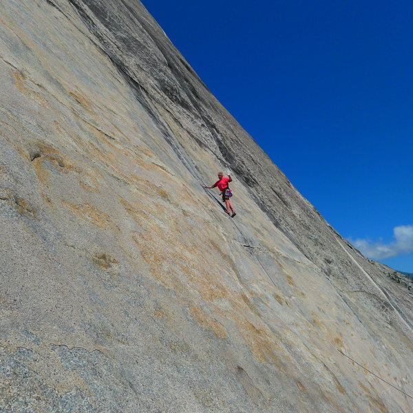 Mike Arechiga on the first pitch of, The Paraclete. 5.10a. Power Dome.