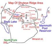 Rock Climbing Photo: Map of Shuteye Ridge area.