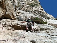 Rock Climbing Photo: Nathan at the upper crux of Soul Slab (5.8), Frust...