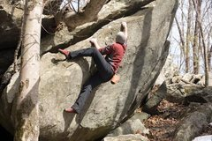Rock Climbing Photo: Cool traversing boulder problem. Maybe V2.