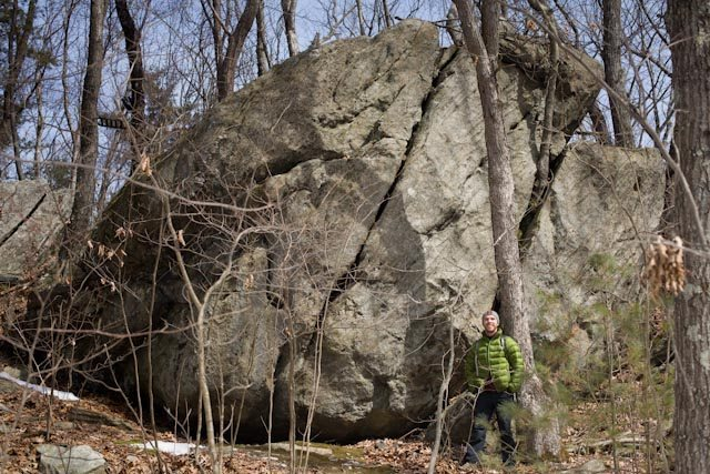 Large boulder with easy problems and a crack (maybe 5.6ish).