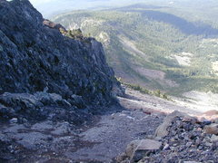 Rock Climbing Photo: Loose gully looking back down