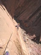 Rock Climbing Photo: Andy topping out on P2