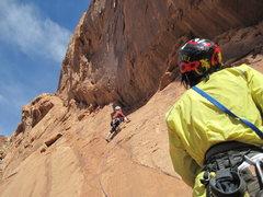 Rock Climbing Photo: Paul starting P3