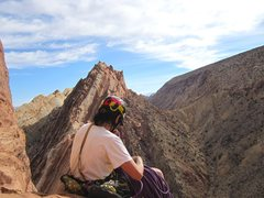 Rock Climbing Photo: View from the top of the climb with the Henry Mts ...