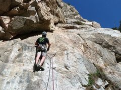 Rock Climbing Photo: Sizing up the first crux of Soul Slab (5.8), Frust...