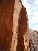 Rock Climbing Photo: Using the belay halfway up the dihedral.