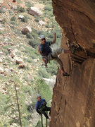 "Rock Climbing Photo: ""Hanging out"" over the roof after the bi..."