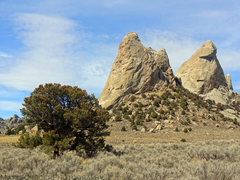 Rock Climbing Photo: The Twin Sisters. South Twin Sister is on the left...