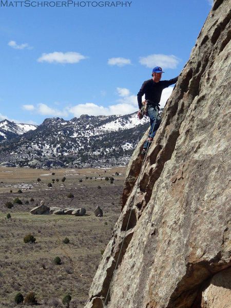 Rock Climbing Photo: Brad poking holes on the face.
