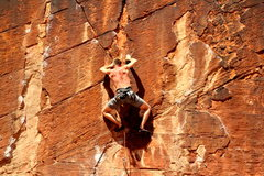 Rock Climbing Photo: Setting up for the top crux