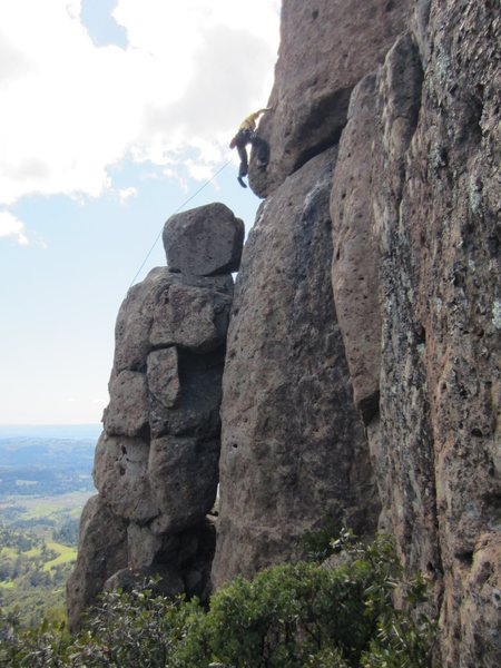 Rock Climbing Photo: Floyd Hayes leading at the wild step across a chas...