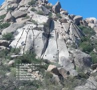 Rock Climbing Photo: Great beta photo with route lines, names, and rati...