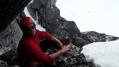 Rock Climbing Photo: Taking a break high on the South Troll - camp is v...