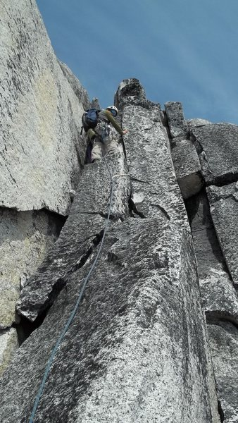 Craig Hastings leading one of the eight pitches on Lost Marsupial.