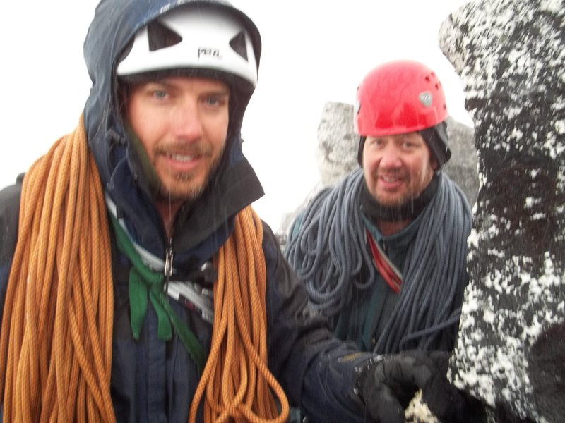 Rock Climbing Photo: Maybe an hour from the top.  Soaking wet and shive...