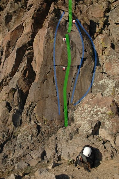 Rock Climbing Photo: Some of the possibilities on this route. Far to cl...