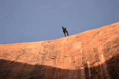 Rock Climbing Photo: Dropping in! First rappel of Pool Arch Canyon. ~16...