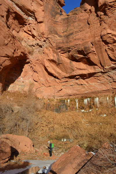 Rock Climbing Photo: Final rappel of Pool Arch Canyon.