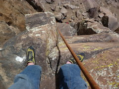 Rock Climbing Photo: Looking down from about 1/2 way up.  My left foot ...